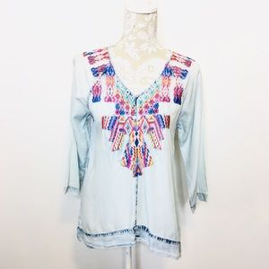 Soft Surroundings Tencel Embroidered Tunic Top SP